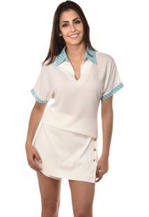 Pólo Banca Fashion Casual Chique Off-White
