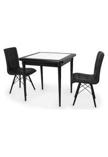 Conjunto Mesa De Jantar Em Madeira Preto Prime Com Azulejo + 2 Cadeiras Gomos - Preto