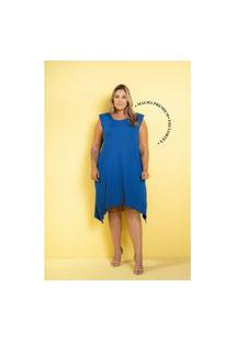 Vestido New Comfy Premium Azul Royal Plus Size 48 Maria Rosa Plus Vestido Azul