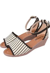 Sandália Romântica Calçados Anabela Listrado Preto E Branco