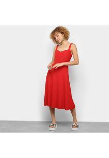 Vestido Farm Rib Midi Retrô - Feminino-Vermelho