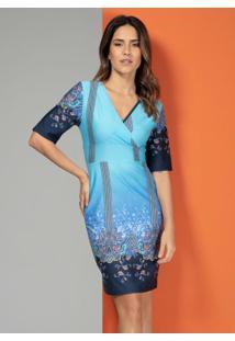 Vestido Cashmere Azul Com Decote Transpassado