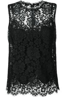Dolce & Gabbana Blusa Com Acabamento De Renda - Preto
