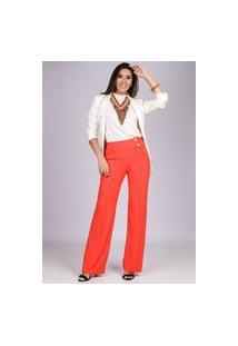 Calça Pantalona Malha Com Botão Madrepérola E Bolso Laranja