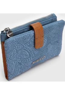 Carteira Desigual Bordado Azul - Azul - Feminino - Dafiti