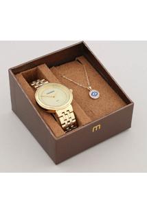 Kit De Relógio Analógico Mondaine Feminino + Colar - 99360Lpmvde1K Dourado - Único
