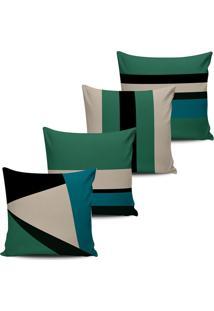 Kit 4 Capas Almofadas Geometrica Abstrata Verde 45X45Cm - Tricae