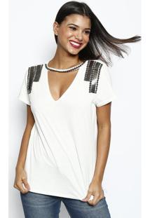 Camiseta Com Aviamentos Metálicos- Off White & Prateadadimy