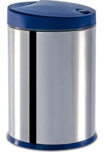 Lixeira Press Inox C/ Tampa Pp Azul 4L - Brinox Azul