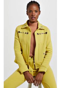 Jaqueta De Malha Estruturada Amarela Com Ilhós Amarelo Yoko - M