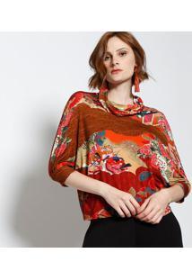 Blusa Abstrata Com Gola Degagãª- Marrom & Vermelhalez A Lez