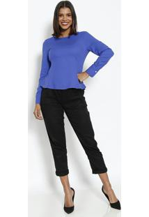 Blusa Lisa & Texturizada Com Botã£O-Azul Royalvip Reserva