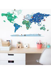 Adesivo Decorativo Stixx Mundo Discovery Azul E Verde Verde - Verde - Dafiti