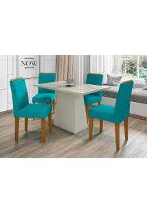 Conjunto De Mesa De Jantar Com Tampo De Vidro Jasmin E 4 Cadeiras Giovana Veludo Off White E Turquesa