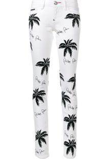 Philipp Plein Calça Jeans Com Estampa Palm Tree - Branco