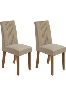 Conjunto De Cadeiras De Jantar 2 Rock Veludo Imbuia E Bege