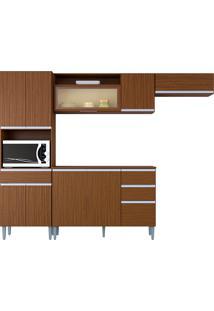 Cozinha Compacta 10 Portas E 3 Gaveta C/ Balcão Vanessa-Poquema - Capuccino