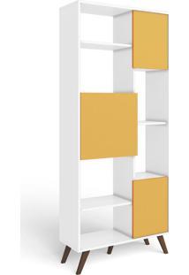 Estante Para Livros 3 Portas 3 Prateleiras Retrô Mm Rt 3039 Branco/Amarelo - Móvel Bento