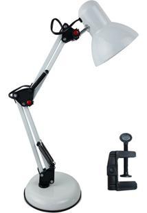 Luminária De Mesa 2 Em 1 Gimp Flexível Articulada Com Garra E Base Branco