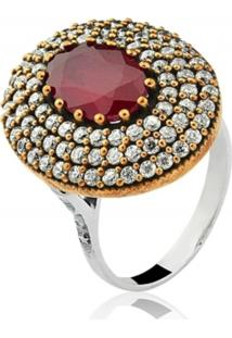 Anel Le Diamond Pedra Multicolorido Vermelho