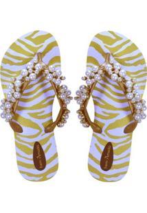 Chinelo Pérolas Estampa Animal Print Zebra Bem Amada Feminino - Feminino-Branco