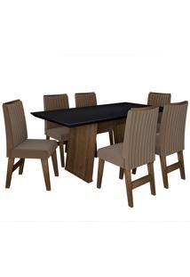 Conjunto De Mesa Para Sala De Jantar Com 6 Cadeiras Vigo -Dobuê Movelaria - Castanho / Preto / Castor Bord