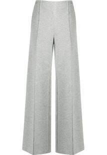 Karl Lagerfeld Calça Pantalona De Jérsei - Cinza