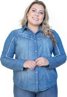 Camisa Jeans Ecolife Plus Size Manga Longa Azul Claro