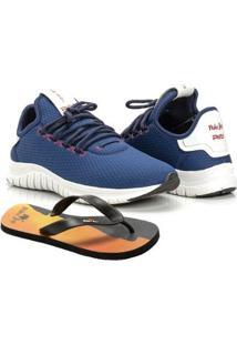 Kit Tênis Runner Polo Joy Sport Com Chinelo Masculino - Masculino-Azul Escuro