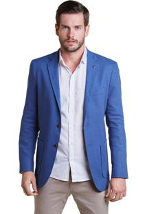 Blazer Buckman Alfaiataria Linho Washed Azul