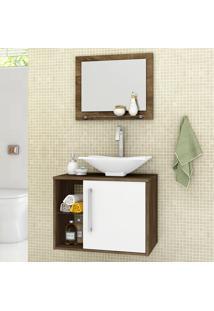 Conjunto Para Banheiro Baden Madeira Rústica/Branco - Móveis Bechara