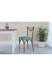 Cadeira De Madeira Moderna Estofada Amélie - Stain Jatobá - Tec.950 Azul Turquesa - 44,5X45X81 Cm