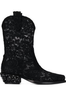 Dolce & Gabbana Bota 'Texan' De Couro Com Renda - Preto