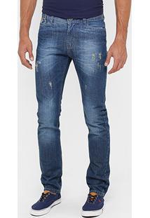 Calça Jeans Reta Razon Puídos Stone Masculina - Masculino