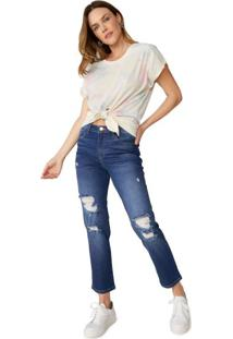 Calça Jeans Slim Com Destroyed
