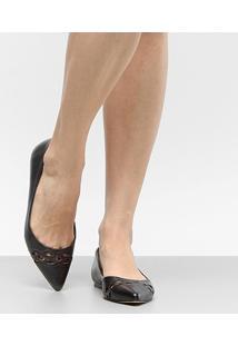 Sapatilha Couro Shoestock Bico Fino Lasercut Feminina - Feminino