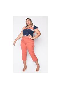 Calça Almaria Plus Size Melonica Pantacourt Lisa Coral