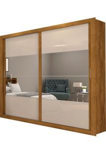 Guarda-Roupa Casal 2 Portas Com Espelho E 4 Gavetas Ipanema-Docelar - Rovere / Off White
