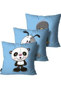 Kit Mdecore Com 3 Capas Para Almofada Infantil Animais Azul 45X45Cm