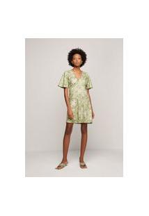 Vestido Evasê Em Tecido De Viscose - Verde