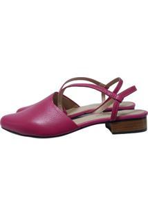 Scarpin Salto Baixo Sapatos E Botas Couro Slingback Pink