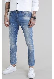 Calça Jeans Masculina Super Skinny Cropped Destroyed Azul Claro
