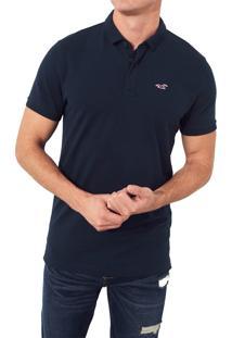 Camiseta Polo Hollister Clássica Azul Marinho