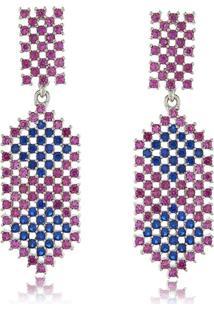 Brinco Elipse Rosa E Azul Em Zircônias Cravejadas 3Rs Semijoias Ródio