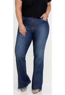 Calça Jeans Flare Feminina Plus Size Gups