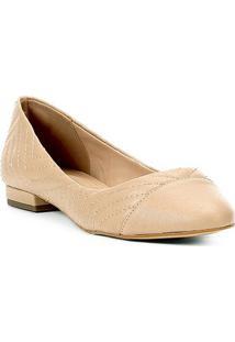 Sapatilha Couro Shoestock Bico Redondo Matelassê Feminina - Feminino-Bege