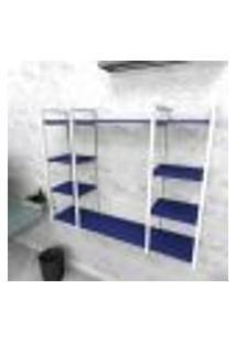 Estante Industrial Escritório Aço Cor Branco 120X30X98Cm (C)X(L)X(A) Cor Mdf Azul Modelo Ind45Azes