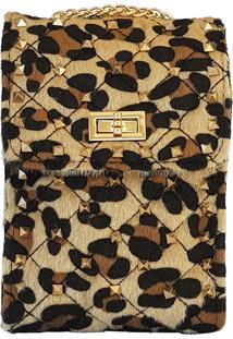 Mini Bolsa Bag Dreams Animal Print Com Spikes Nude