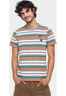 Camiseta Colcci Listras Bolso Patch - Masculino