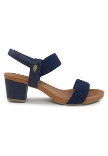 Sandalias Em Couro Com Elástico Usaflex Azul Y8204